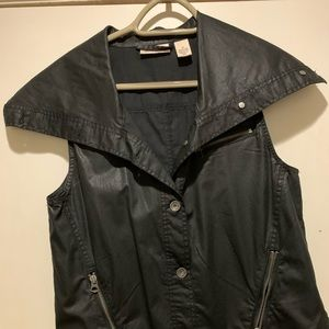 DKNY jeans coated black Moto vest. medium